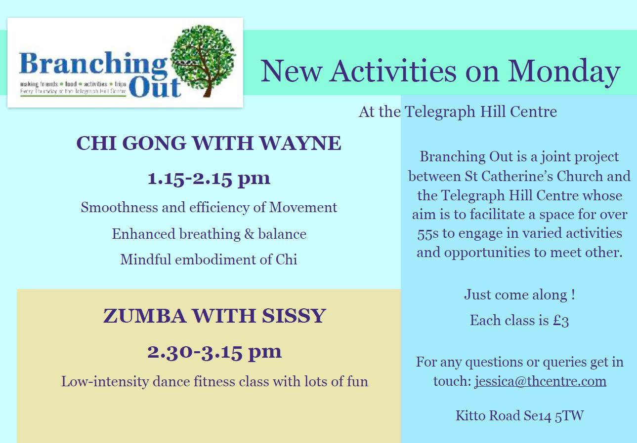 New activities for the over 55's at Telegraph Hill Centre