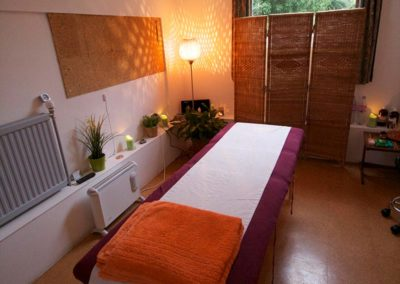 Parlour set up for massage therapy